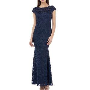 JS Collections Soutache Blue Floor Length Dress